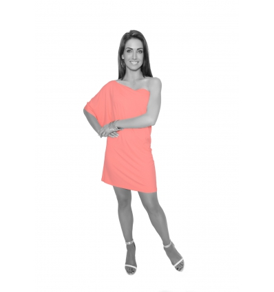Light Coral One Shoulder Tunic